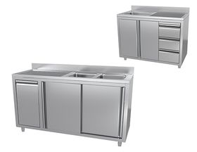 Sink cupboard with built-in elements