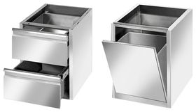 Accessories: Drawers, trashcans & wheels