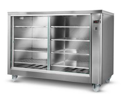 Heating cabinet with sliding door