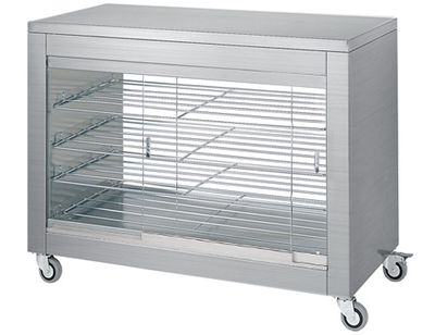 Heating cabinet with sliding glass door on both sides