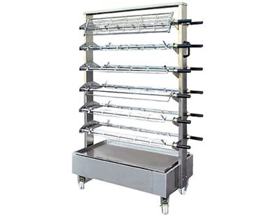 Mobile spit trolley for 24x skewers