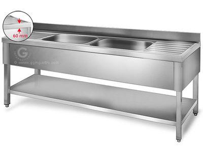 Sink unit with floor base 1,8 m - 2 sink in center L 40 x B 50 x T 25 cm