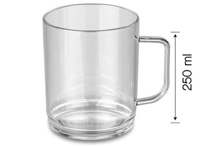Polycarbonate tea / coffee cup, Clear - 250 ml - 50 picces