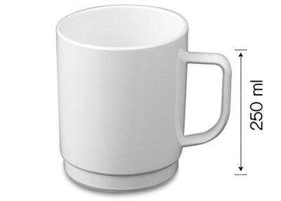 (50 Stück) Polycarbonat Tee-/Kaffeetasse, weiss - 250 ml