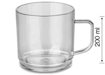 Polycarbonate tea / coffee cup, Clear - 200 ml - 50 picces