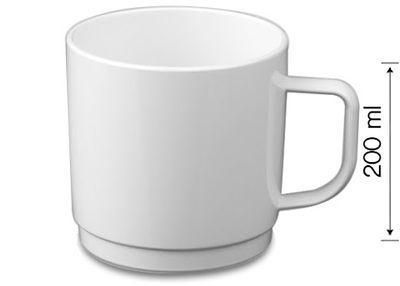 (50 Stück) Polycarbonat Tee-/Kaffeetasse, weiss - 200 ml