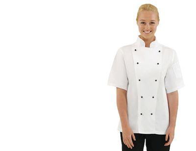 Kochjacke Chicago - weiß - kurzarm - Größe: XL