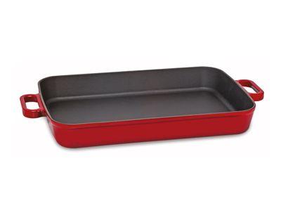 Servierpfanne / Auflaufform aus Gusseisen - Rot - 30 x 22 cm