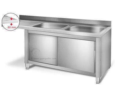 Dishwasher sink unit 2,0m - 2 sinks on right L 60 x W 50 x D 30 cm