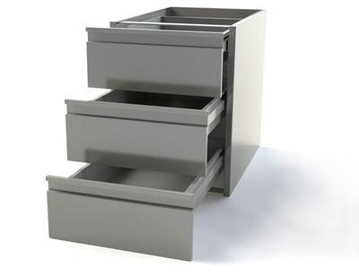 Schubladentisch PREMIUM - 0,4 m - mit 3 Schubladen - Unterbaumodul für die Arbeitstische 600 Tief