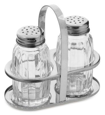 Salt & pepper shaker in stainless steel stand