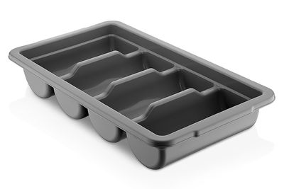 Cutlery tray with 4 compartments - grey
