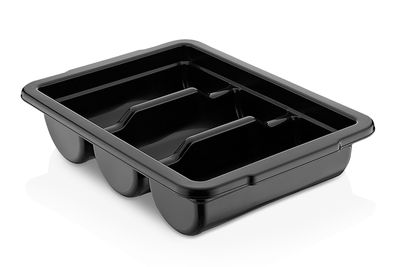 Cutlery tray with 3 compartments - black