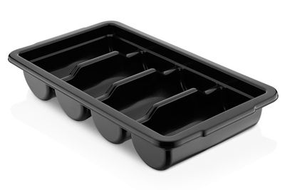 Cutlery tray with 4 compartments - black