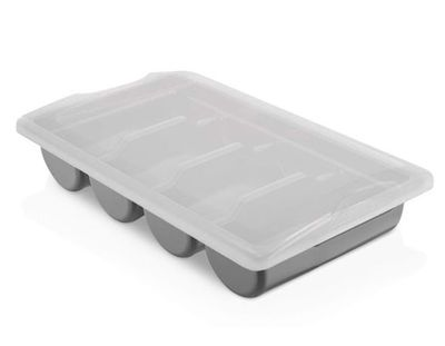 Cutlery tray with 4 compartments incl. lid – grey