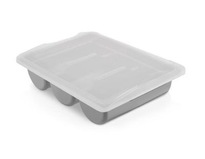 Cutlery tray with 3 compartments incl. lid – grey