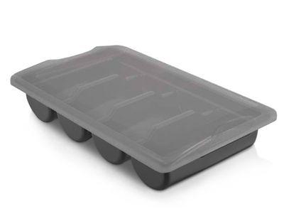 حاوية مع غطاء لادوات المائدة بأربع اقسام باللون الاسود