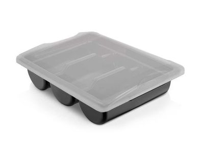 Cutlery tray with 3 compartments incl. lid – black
