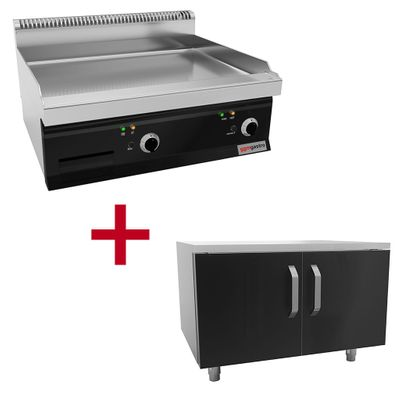 Electric griddle - smooth + grooved (8 kW) incl. base frame   grill plate   griddle plate   roaster   griddle   grill   gastronomy