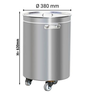 Edelstahl Abfallbehälter - 50 Liter - mit Hubdeckel