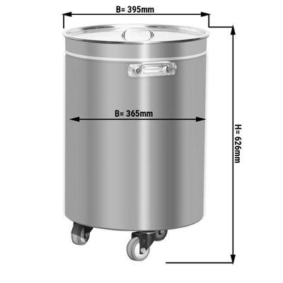 Edelstahl Abfallbehälter - 75 Liter - mit Hubdeckel