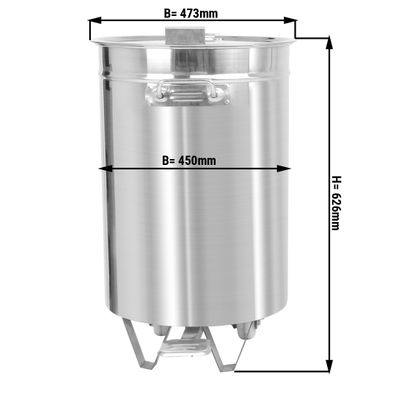 Edelstahl Abfallbehälter - 75 Liter - mit Hubdeckel & Fusspedal