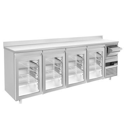 Bar Getränkekühltisch 2,69 m - mit 4 Glastüren, Aufkantung & Ausklopfer für Kaffee
