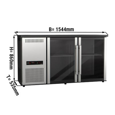 Bar refrigerated drinks table 300 litres - with 2 glass doors