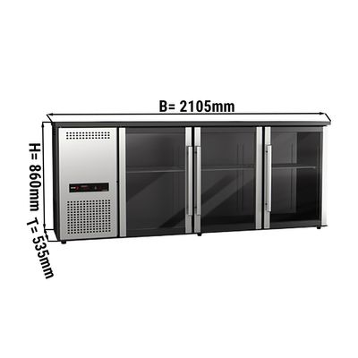 Bar refrigerated drinks table 510 litres - with 3 glass doors