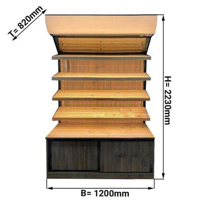 Brotregal - 1,2 x 0,7 m - mit 4 Ablagen - inkl. Beleuchtung