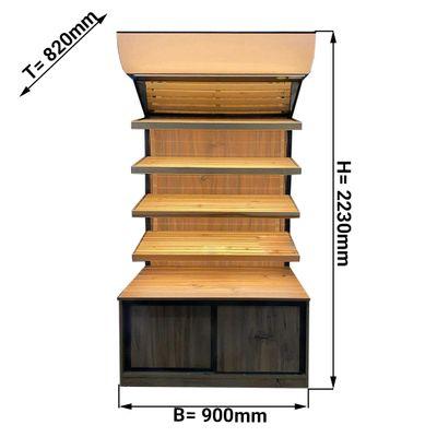 Brotregal - 0,9 x 0,7 m - mit 4 Ablagen - inkl. Beleuchtung