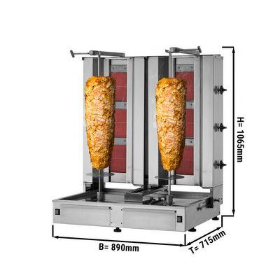 Kebab grill - 3+3 burners - max. 80 kg - incl. protection sheet