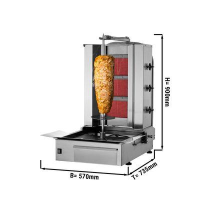 Kebab grill - 3 burners - maximum 40 kg - incl. protection sheet
