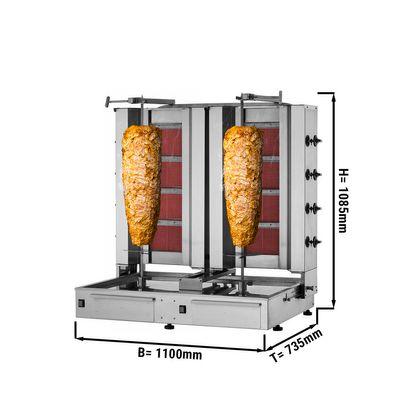 Kebab grill - 4+4 burners - max. 120 kg - incl. protection sheet