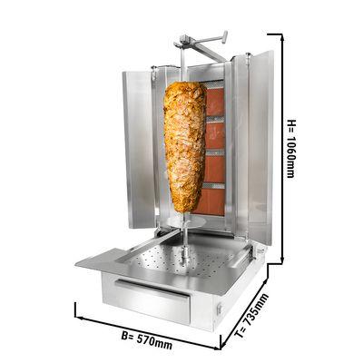 Kebab grill - 4 burners - maximum 60 kg - incl. protection sheet