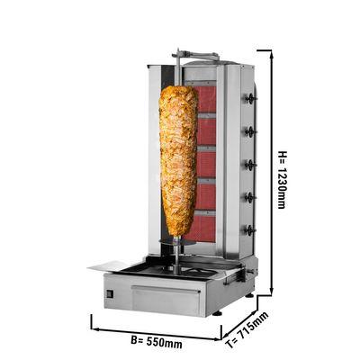 Kebab grill - 5 burners - maximum 80 kg - incl. protection sheet