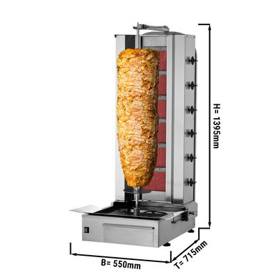 Kebab grill - 6 burners - maximum 100 kg - incl. protection sheet
