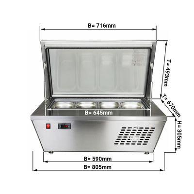Speiseeis Aufsatzvitrine / Eisvitrine - für 4x 5 Liter Eisbehälter