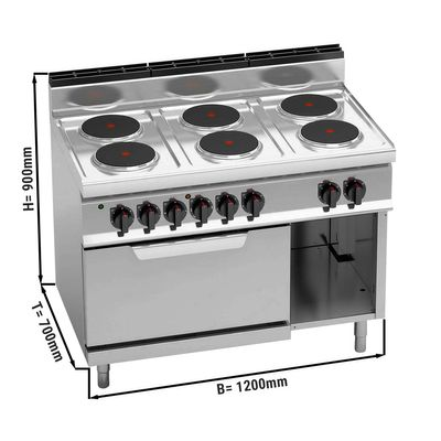 Electric stove 6xPlatten (15.6 kW) + static electric oven (7.5 kW)