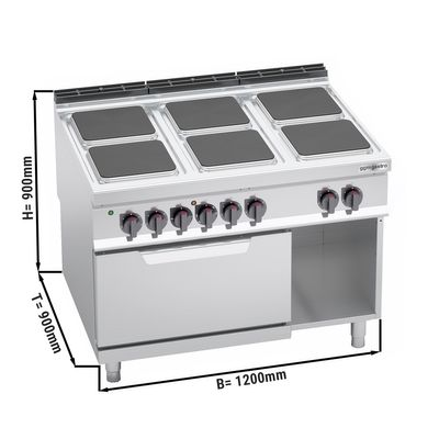 Electric stove 6x angular plates (21 kW) + electric oven static (7.5 kW)