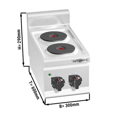 Electric stove 2x plates round (4 kW)
