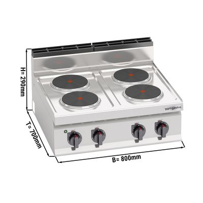 Electric stove 4x plates round (10.4 kW) - 230V