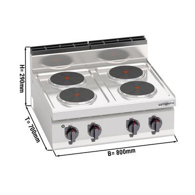 (10.4 kW) موقد كهربائي بأربع رؤوس دائرية   230 فولت