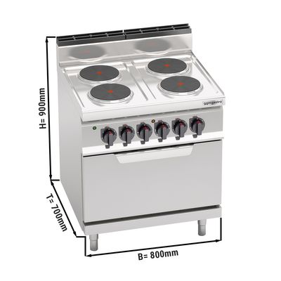 Electric stove 4xPlatten (10.4 kW) + static electric oven (7.5 kW)