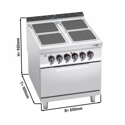 Electric stove 4x angular plates (14 kW) + electric oven static (7.5 kW)