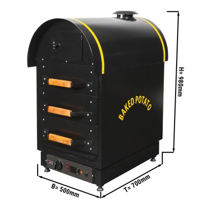 Elektro Kumpir Kartoffelofen - mit 3 Schubladen - 500 x 700 x 980 mm