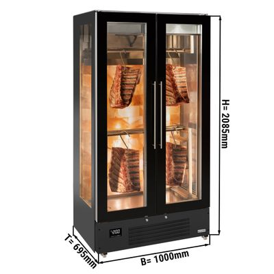 Fleischreifeschrank - 1,0 x 0,69 m - mit 2 Glastüren