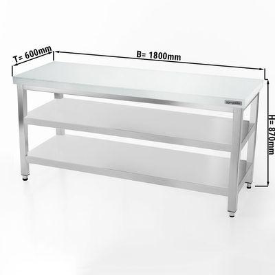 Fleischereitisch PREMIUM - 1,8 m - Arbeitsplatte 40 mm - mit Grundboden & Zwischenboden