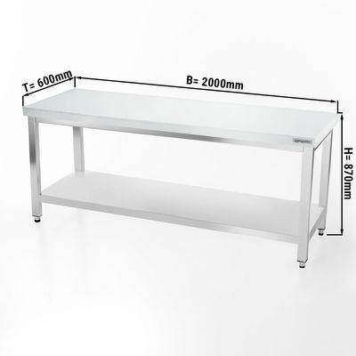 Fleischereitisch PREMIUM - 2,0 m - Arbeitsplatte 40 mm