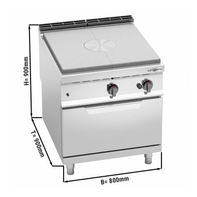 Simmer plate stove (13 kW) + gas oven (7.8 kW)